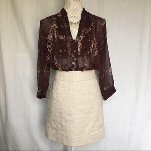 Banana Republic // Khaki, White Tweed Mini Skirt 8